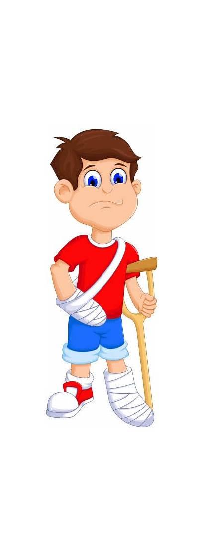 Arm Broken Leg Cartoon Cast Boy Clip