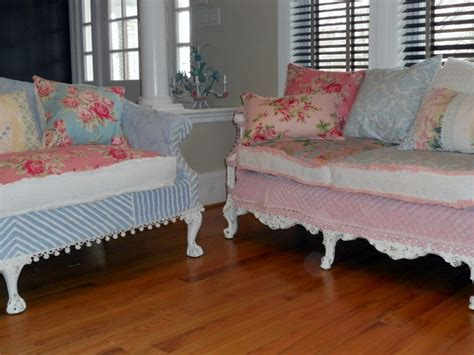 shabby chic slipcovered sofa shabby chic sofas slipcovered with vintage chenille bedspreads and roses fabrics eclectic