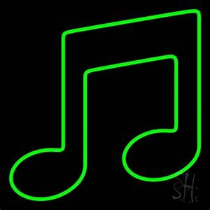 Green Music Note Neon Sign