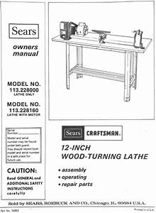 Original Owners Manual Sears Craftsman 12 U0026quot  Wood Lathe  Pdf