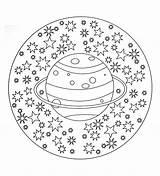 Mandala Planet Stars Coloring Mandalas Universe Exploring Adult Adults sketch template