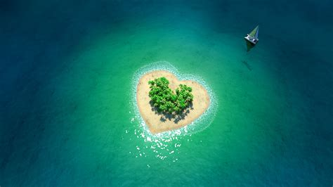 tropical island  form  heart wallpapers