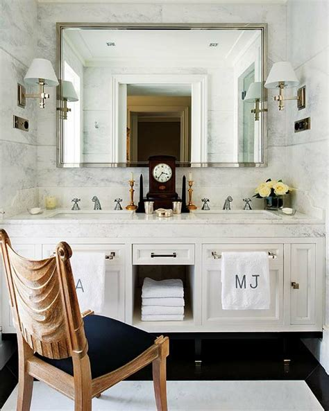 floating double vanity transitional bathroom