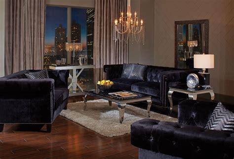 reventlow black living room set  coaster coleman