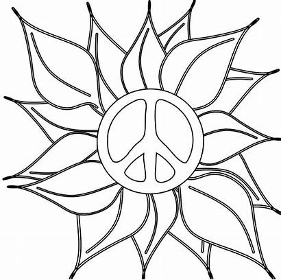 Peace Sign Coloring Pages Flower Clipart Signs