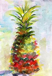 Pineapple Study Watercolor Painting by Ginette Callaway