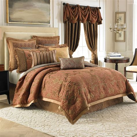 golden curtains combined with comforter