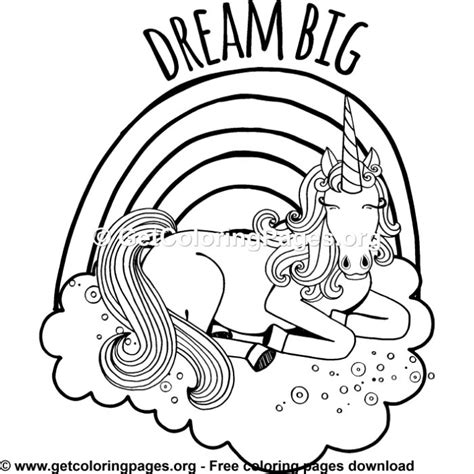 rainbow unicorn coloring pages getcoloringpagesorg