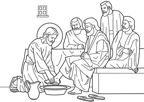 Coloring Pages Jesus Washes His Disciples Feet