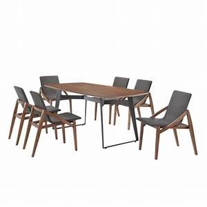 Table à Manger Bois Et Métal : table manger contemporaine et vintage mael en bois et m tal 200cmx90cmx77 5cm noyer noir ~ Teatrodelosmanantiales.com Idées de Décoration