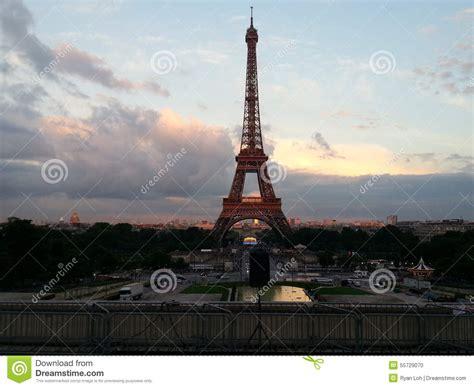 beautiful sunset scenery  eiffel tower paris stock photo