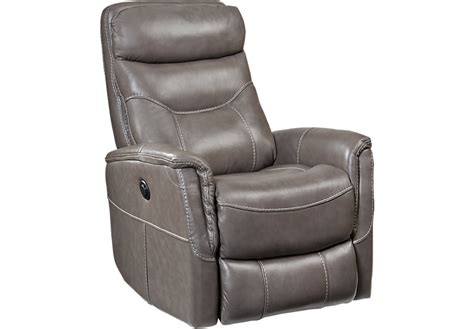 leather glider recliner with cindy crawford home bello gray leather power swivel glider
