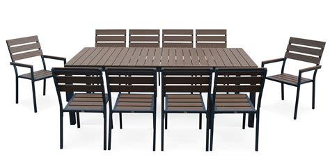 table et chaise de jardin en aluminium salon de jardin 10 places en aluminium et polywood