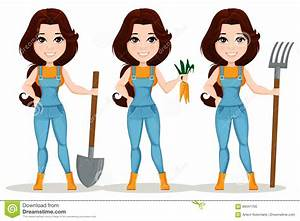 Pole Position Dessin Animé : fille d 39 agriculteur habill e dans la salopette de travail positionnement personnage de dessin ~ Medecine-chirurgie-esthetiques.com Avis de Voitures