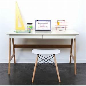 Bureau Scandinave Blanc : bureau laqu ch ne blanc 120x70cm skoll look scandinave ~ Teatrodelosmanantiales.com Idées de Décoration