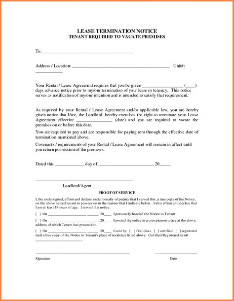 early lease termination letter 4 early termination of rental lease agreement purchase