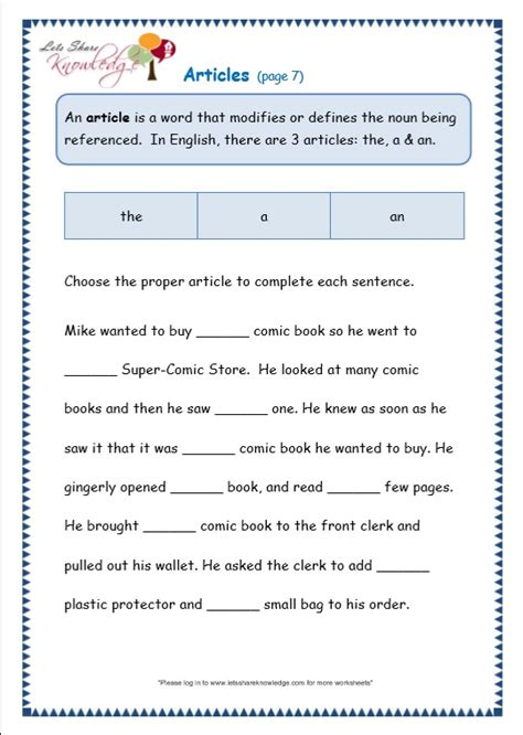 Grade 3 Grammar Topic 34 Articles Worksheets  Lets Share Knowledge