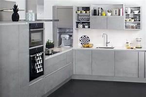 darty 8 nouvelles cuisines sur mesure a decouvrir With plan de travail cuisine effet beton