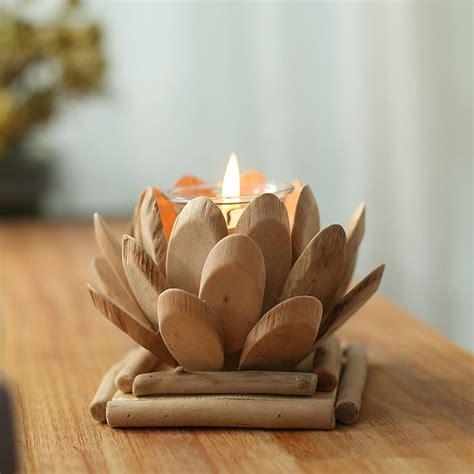 wood tea light holder lotus interior design ideas