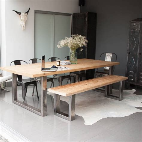 dining table with bench and chairs reclaimed pine and steel dining table bench and chairs by