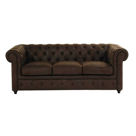 canap 233 capitonn 233 3 places en su 233 dine marron chesterfield