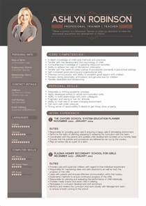 Free Resume Cv Design Template For Trainers Teachers