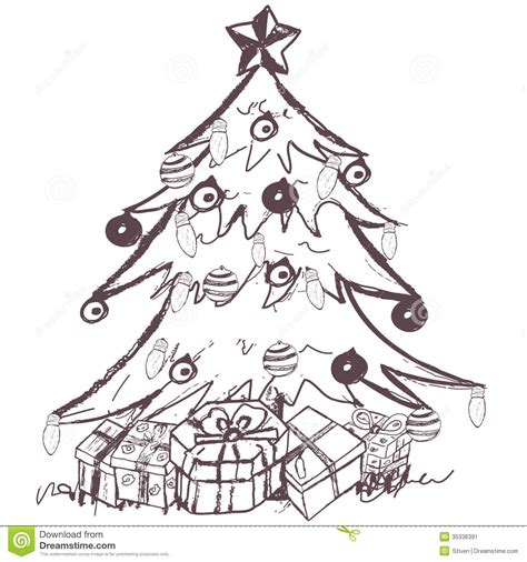 pencil drawings christmas trees tree stock vector illustration of doodles 35336391