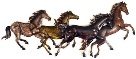 running horses sculpted metal wall art