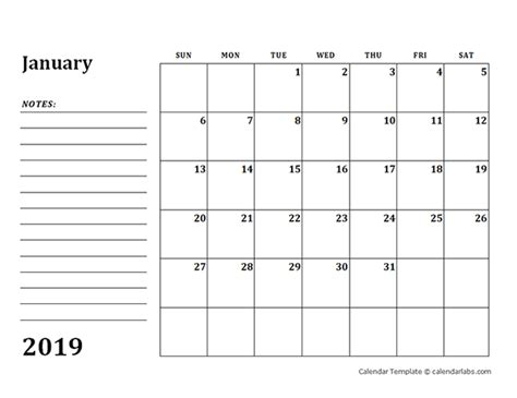 blank calendar template  notes  printable