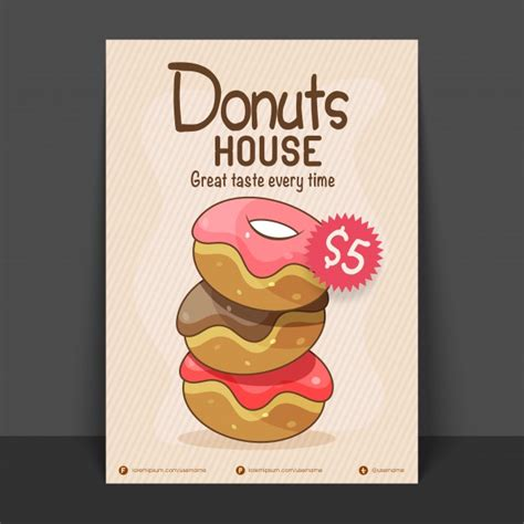 donut house flyer vorlage oder preis karte design vektor