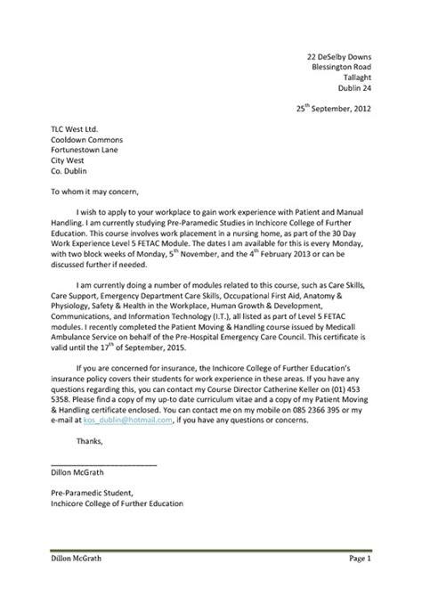 applying for work experience letter template letter