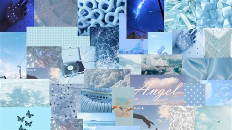 blue aesthetic collage wallpaper for mac in 2021 baby