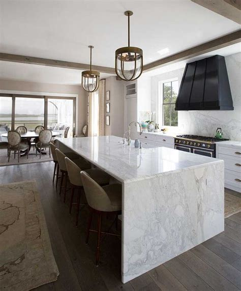 How To Make Kitchen Island From Cabinets by 32 Trendy And Chic Waterfall Countertop Ideas Digsdigs