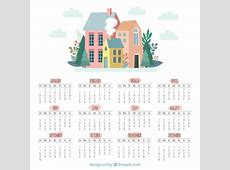 Cute 2018 calendar with houses Vector Free Download