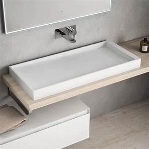 vasque a poser en resine 100x45 cm mineral With salle de bain design avec evier a poser resine