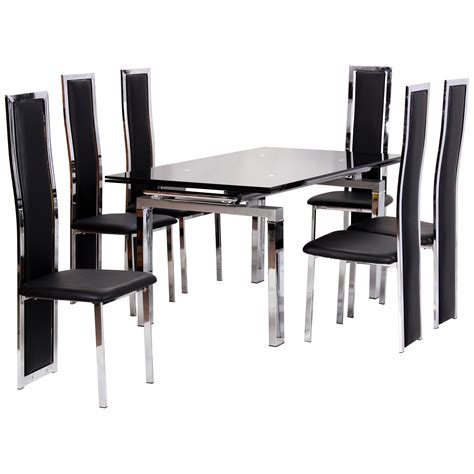 chrome glass extending dining table and chair set with 6