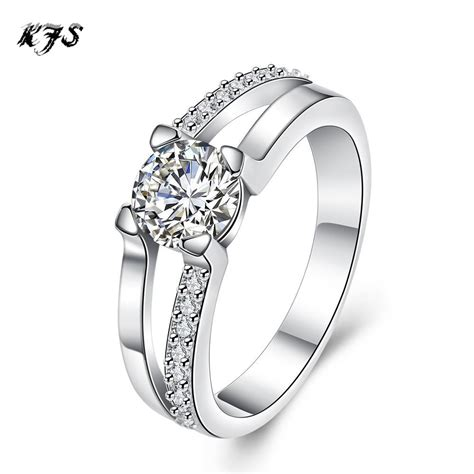 design silver plated rings jewelry exquisite personalized prong setting cz diamonds ring