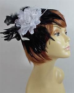 BLACK WHITE FEATHER FLOWER HAIR CLIP FASCINATOR FOR