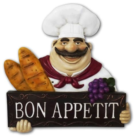fat chef kitchen statue bon appetit wall plaque wall art decor traditional home decor by