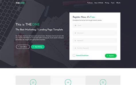 Free Landing Page Templates Theone Landing Page Template Wrapbootstrap