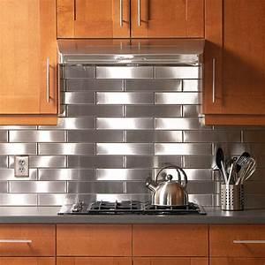 Stainless steel kitchen backsplash decoist for Stainless steel backsplash
