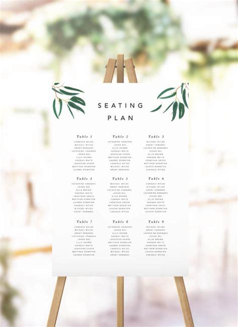Elegant Eucalyptus Green Leaves Seating Plan Wedding