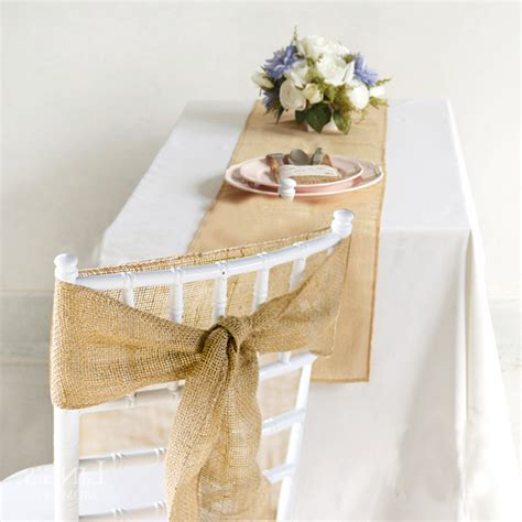 hessian chair sash table runner burlap rustic vintage wedding decor ebay