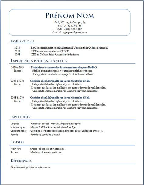 Des Modèles De Cv by Resume Format Mod 232 Les De Cv Qu 233 Bec