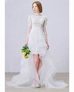 boho high low wedding dresses with sleeves stylish a line With asymmetrical wedding dress