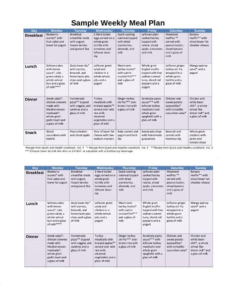 sample meal calendar  documents   word excel