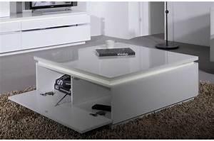 Table Basse Carrée Blanc Laqué : table basse carr e laque blanc ~ Teatrodelosmanantiales.com Idées de Décoration
