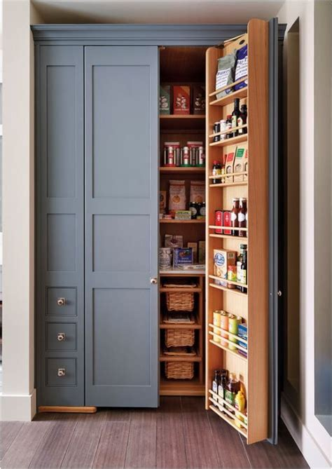 built  pantry beautiful slate blue color kitchens