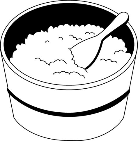 black  white cooked rice clipart clipart kid