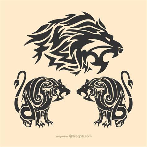 tribal lion tattoo vector